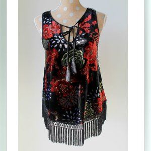 Band of Gypsies Fringe Floral Top Small